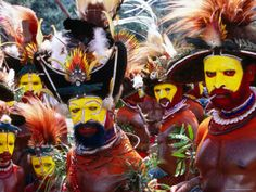 Egele Tribe Members in Traditional Dress at Enga Cultural Show, Wabag, Enga, Papua New Guinea