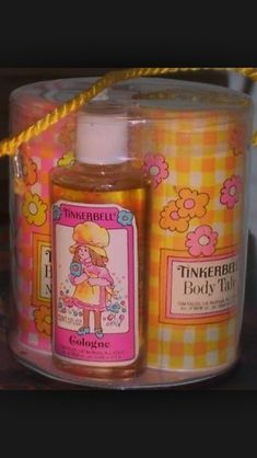 Tinkerbell cologne, talc, lotion, and bubble bath. I remember the talc. My Childhood Memories, Childhood Toys, Great Memories, 1970s Childhood, School Memories, Talc, 80s Kids, Kids Toys, I Remember When
