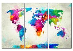 Stampa su tela Map of the world - an explosion of colors (triptych) sarà una fantastica decorazione murale, Vedi una collezione di quadri Mappamondo - originali ed economici decorazioni nella galleria artgeist.