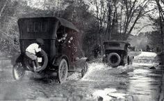 Through a ford in a Rock Creek Park, Washington, DC Old Pictures, Old Photos, Vintage Photos, Vintage Cars, Antique Cars, Rock Creek, Ford Models, Dieselpunk, Back In The Day