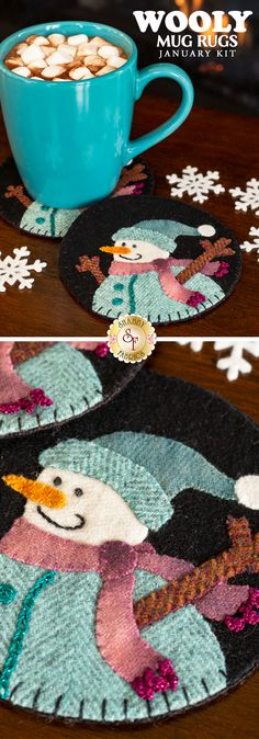Add the perfect touch of cozy to your home with the Wooly Mug Rug series! Have adorable wool mug rugs for every month of the year! This is a Shabby Fabrics Exclusive! Felt Christmas Decorations, Felt Christmas Ornaments, Christmas Crafts, Wool Applique Patterns, Felt Applique, Wooly Bully, Felt Snowman, Snowmen, Felt Coasters