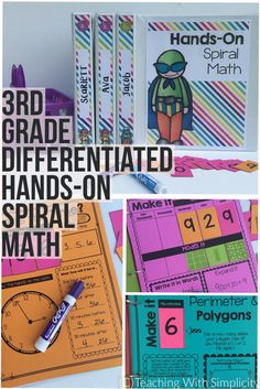 3rd grade spiral math for morning work, math centers, guided math warm-up, or homework. You name it, and you can use it!    Take spiral math to a whole new level with Differentiated Hands-On Spiral Math where each and every 3rd grade Common Core Math standard is addressed and contains differentiated activities for each.  Differentiated Hands-On Spiral Math provides 44 different consistent, hands-on activities to keep math skills fresh.