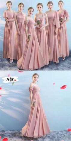Bridesmaid dresses - Pink Sleeveless A Line Ruffles Chiffon Long Bridesmaid Dresses Pink Bridesmaid Dresses Long, Affordable Bridesmaid Dresses, Bridal Dresses, Long Dresses, Infinity Dress Bridesmaid, Bridesmaids, Prom Dresses, Pink Gowns, Pink Dress