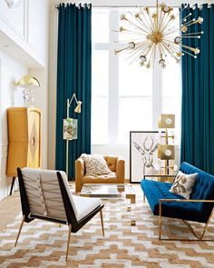 Best Interior Design Living Room Modern For Homes & Apartments Mid Century Modern Living Room, Living Room Modern, My Living Room, Mid Century Modern Curtains, Blue Curtains Living Room, Modern Bedroom, Blue Drapes, Velvet Drapes, Living Room Ideas Grey And Blue