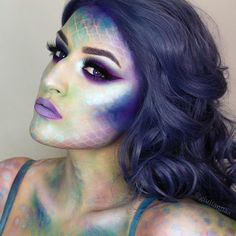 """FULL Mermaid tutorial will be on my YouTube soon, LINK IN BIO to SUBSCRIBE what are you guys doin today? I'm hangin out w @rebeccaseals Wig is """"titanium"""" by @hairhegoes @powderroomd @camoeyes contacts @mollycosmetics """"toxic"""" on my lips with @occmakeup """"anime"""" lipliner I used eyeshadows from @makeupstore (modest and hope) @sugarpill (lumi) @lyncacarecosmetics (light blue pigment) lashes @deviluxurylash"""