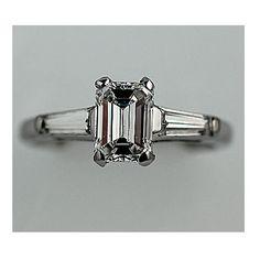 Estate Platinum Emerald Cut Three Stone Diamond by ArtDecoDiamonds, (1.5 TCW)