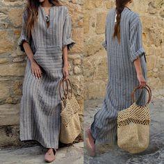 9408c2b938b US Stock Plus ZANZEA Womens Striped Split Long Sleeve Kaftan Maxi Long  Dress New