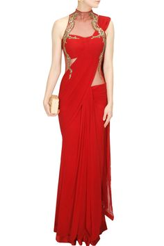 Red metal and bead embroidery pre stitched sari gown available only at Pernia's…