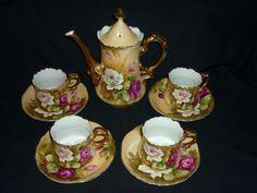 Vintage LEFTON China Beautiful Brown Heritage Rose Coffee Tea Set 4 Cups Saucers | eBay