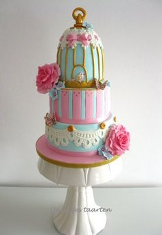 Sweet birdcage cake - by Daantje @ CakesDecor.com - cake decorating website