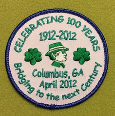 Girl Scouts Historic Georgia 100th anniversary patch. Bridging to the next Century. Columbus GA, April 2012. Designed by Michaela Coleson. Thank you, Michaela. Love it!