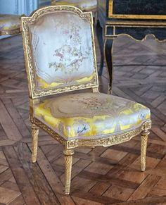 Satin Embroidered Chair at the Trianon Palace, Marie Antoinette's Estate at Versailles ©2013 blossomgraphicdesign.com