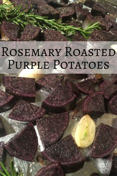 These rosemary roasted purple potatoes are a great way to add a little color to your plate! No-nonsense recipe that makes for a wonderful side dish. Purple Potato Recipes, Healthy Potato Recipes, Roasted Potato Recipes, Sweet Potato Recipes, Veggie Recipes, Veggie Food, Salad Recipes, Healthy Food, Healthy Side Dishes