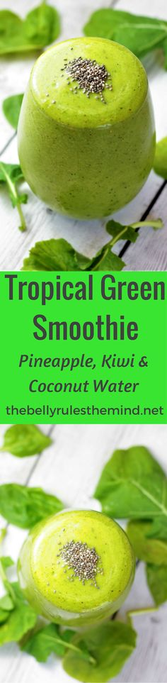 This Tropical Green Smoothie is sure to tantalize your taste buds. Kid tested and approved. Nourish your body with the goodness of greens & enjoy the tropical flavors. Vegan + Gluten Free |www.thebellyrulesthemind.net @bellyrulesdmind