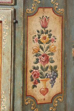 Set Tirolese Per Entrata Dipinto Soft And Light Arredamento D'antiquariato Complementi D'arredo