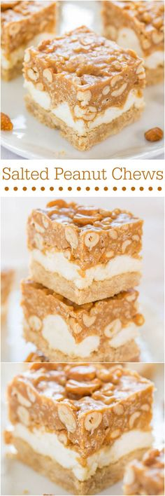 Salted Peanut Chews - Salty-and-sweet with a little bit of crunchy and lots of chewy-and-gooey!! So easy and a crowd favorite!! Mmm!