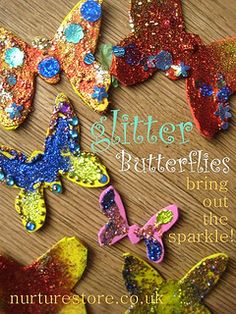 Glitter butterflies - love the sparkle! Great caterpillar and butterfly activities here too.