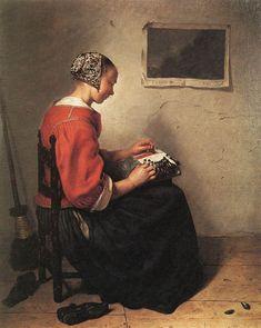 """""""The Lace-Maker"""" by Caspar Netscher - Caspar Netscher — Wikipédia"""
