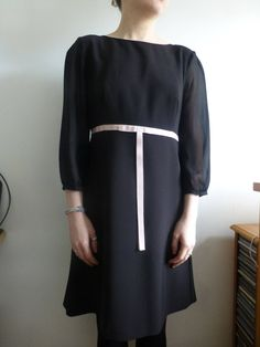 Vintage style Ted Baker dress. Classic shape, black with sheer sleeves and pink ribbon. UK size 8. by JonHenrysCurios on Etsy