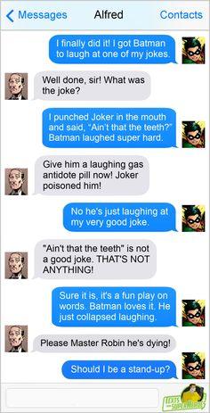 Saving the world, and conversations. Marvel Jokes, Marvel Dc Comics, Funny Relatable Memes, Funny Texts, Batman Universe, Dc Universe, Tim Drake, Batfamily Funny, Superhero Texts