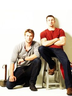 Chris Hemsworth and Chris Evans... Proof that Super Hero movies are made for girls! haha