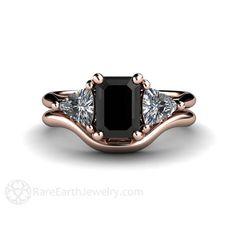 Black Diamond Wedding Set Engagement Ring 3 Stone by RareEarth