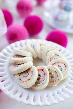 Rainbow sprinkled spiral cookies from this Vibrant Unicorn Party at Kara's Party Ideas. But don't miss...