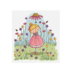 flower girl  cross stitch pattern  DJXS 2207 by DureneJones