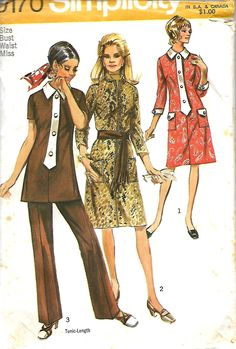1970 Simplicity 9170 Misses Dress or Tunic and Pants Pattern, Size 12, UNCUT by DawnsDesignBoutique on Etsy