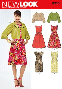 I like the fuller-skirted dress on this pattern - not a fan of the avocado shiny jacket but the dress could be utterly fantastic - Sewing Pattern $4.29 #FrugalLiving