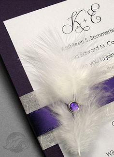 100 Eggplant Purple Wedding Invitations with Unryu, Purple Satin Ribbon, Feather and Amethyst Brad