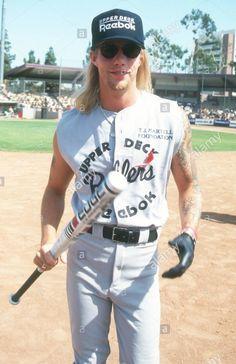 Jani Lane attends T. Martell Benefit Baseball Game on June 1992 at Dedeaux Field in Los Angeles, California. Jani Lane, Bret Michaels, Glam Metal, Rock N Roll, Sexy Men, Baseball, Music, Axe, Benefit