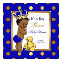 "Cute Prince Baby Shower Boy Royal Blue Gold Ethnic 5.25"" Square Invitation Card"