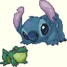 Stitch and a Frog Cross Stitch Pattern by KeenahsCrossStitch
