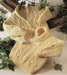 Baby / toddler / childrens aran cable sweater with by Hobohooks
