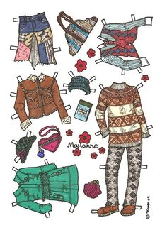 Marianne Paper Doll in Colours. Marianne påklædningsdukke i farver. Paper Dolls, Monkey, Ford, Colours, Children, Pretty, Clothes, Passion, Mixed Media