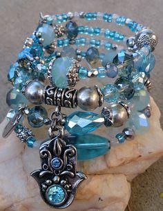 Hamsa Layered Wrap Bracelet Yoga Bracelet by SecretStashBoutique, $38.00