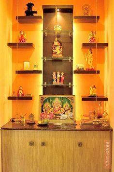 home mandir design decoration Temple Room, Home Temple, Room Interior, Home Interior Design, Interior Garden, Temple Design For Home, Mandir Design, Pooja Room Door Design, Puja Room