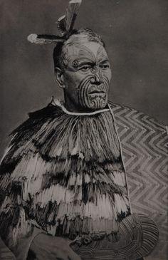 New Zealand | Maori Chief | Photographer unknown.