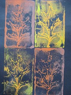 Fall Leaf Printmaking With Styrofoam Plates from Pinkand Green Mama