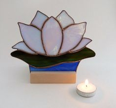 Lotus Candle Holder, Stained Glass Lotus