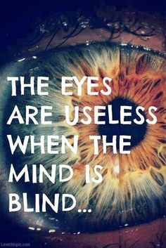 The eyes are useless when the mind is blind..