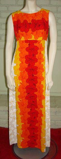 Vintage 70s Ui-Maikai Hawaiian Maxi Dress Bright Orange & Red Hibiscus Print M