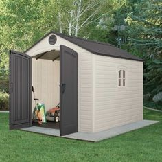 Shed Decor - Updates On Immediate Systems Of Wood Shed Plans Backyards - DIY Focus 10x10 Shed Plans, Wood Shed Plans, Diy Shed Plans, Storage Shed Kits, Garden Storage Shed, Outdoor Storage Sheds, Bike Storage, Outdoor Garden Sheds, Backyard Patio