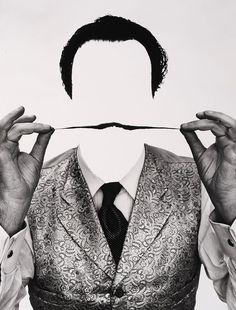 PHILLIPE HALSMAN (1906 - 1979)  Dali invisible  Tirage argentique.  Cachet du photographe et numéroté 66/250 au dos.