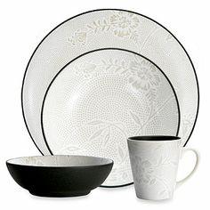 Noritake® Colorwave Graphite Bloom Dinnerware - BedBathandBeyond.com