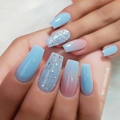 The advantage of the gel is that it allows you to enjoy your French manicure for a long time. There are four different ways to make a French manicure on gel nails. The choice depends on the experience of the nail stylist… Continue Reading → Blue Ombre Nails, Blue Coffin Nails, Light Blue Nails, Blue Acrylic Nails, Acrylic Nail Designs, Glitter Nails, Fun Nails, Gold Glitter, Matte Nails