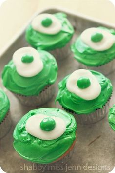 Green eggs and ham. (I would do orange frosting like the book cover).