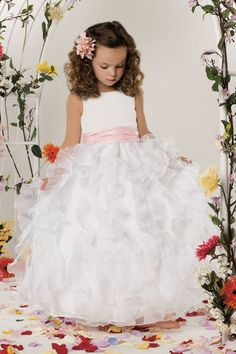 Find discount ball gown first communion dresses with layered skirt, cute full length organza flower girl dresses with sash, easter, spring little girls dresses, flower girl dresses at discount prices Dress Flower, Cute Flower Girl Dresses, Wedding Dresses For Girls, Wedding Party Dresses, Girls Dresses, Bridesmaid Dresses, Flower Girls, Dresses 2014, Dress Girl