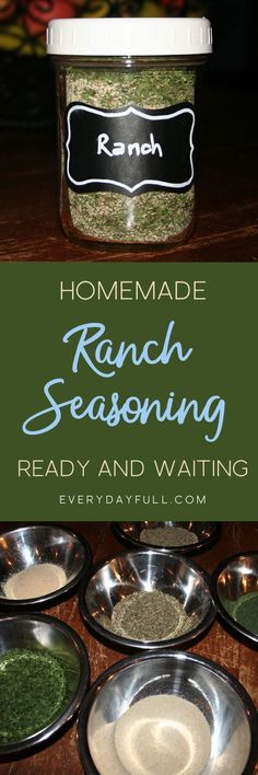DIY RANCH SEASONING, DIP AND DRESSING RECIPE: Doesn't everything taste better with ranch? Salad! Carrots! Celery! Pizza!… Cake!…OK, so maybe not cake, but that may be the only thing! Dress up your salad, make a delicious dip for crackers and veggies or season up some chicken for dinner. This recipe has endless variations!